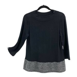 Angel of the North Anthropologie Sweater Women's Size Medium Black Gray Pleated